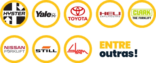 Marcas que trabalhamos: hyster, yale, toyota, clark, nissan, still, skam, entre outras